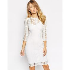 Body Frock Lydia Dress in Lace (114 CAD) ❤ liked on Polyvore featuring dresses, white, lacy white dress, round neck dress, crochet lace dress, white lace dress and white dress