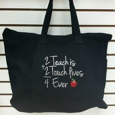 Teach is 2 Touch Lives Teachers Tote Bag 2 Teach is 2 Touch Lives 4 Ever design on Canvas tote bag. Perfect gift for Teachers. We take custom orders. Call us at Tote details: w x h with bottom gusset cotton canva Teacher Appreciation Gifts, Teacher Gifts, Large Canvas Tote Bags, Teacher Tote Bags, Bag Quotes, Diy Tote Bag, Teacher Christmas Gifts, Holiday Gifts, Teacher Quotes
