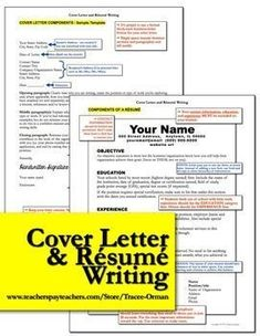Rsum and Cover Letter Writing: This bundle is not just for students. If YOU need help writing your rsum and letter of application, I included a sample for a teacher. High school, new teacher, English language arts, writing.