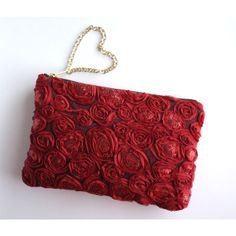 Romantica Red Sequined Rosette Swirl Clutch Purse. Red Mesh Lace Pouch. Evenng Bag. Valentines Gift for Her. Free US Shipping