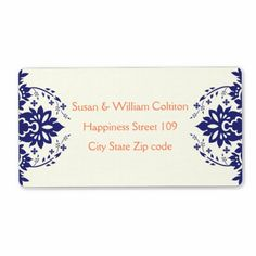Elegant damask navy blue, coral, ivory wedding custom shipping labels
