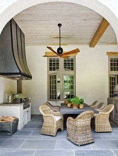 Suzie: Beth Webb Interiors - Elegant outdoor kitchen space design with zinc dining table, woven ...