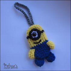 Minion Luggage or Backpack Tag - free pattern by Melissa's Crochet Patterns.