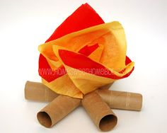 recycling paper for kids: toilet paper tube mini- campfires - crafts ideas - crafts for kids