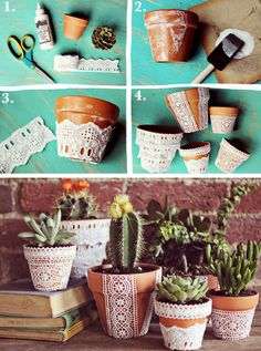 DIY Craft Tutorial: Pretty Lace Flower Pots, @elsiecake
