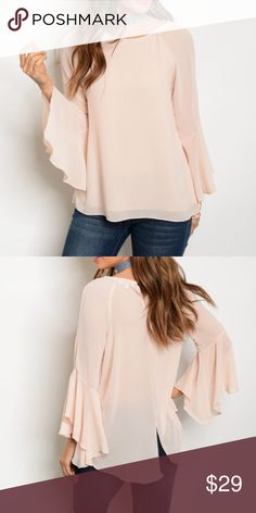 """Light Blush Bell Sleeve Top Light blush bell sleeve top with a small slit back opening at the bottom. The must have style and color of the season. Can be paired with absolutely anything. 100% polyester. Available in small, medium and large. Measurements for small: Length 29""""/ Bust 36"""". Tops"""
