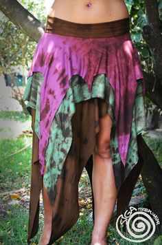 Long Gypsy Jungle Tie Dye Skirt Fairy Nomad by SigaTribalwear, €49.00
