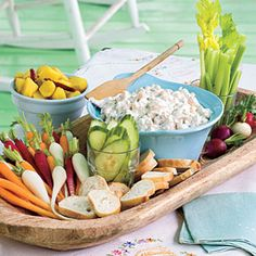 Make a creamy dip by adding a mixture of blue cheese, mayonnaise, sour cream, and cream cheese to chopped fresh shrimp. Serve with an assortment of fresh veggies and baguette slices.