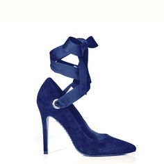 DOMINIQUE SUEDE HEEL - SAPPHIRE by Alice + Olivia | Spring - Free Shipping. On Everything.