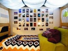 Very cool dorm room bed, the fabric over the top and retro colors make it all come together