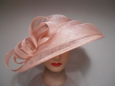 b046329e736 Hat Pink Sinamay Pleated Wide Brim Kentucky Derby Church Races