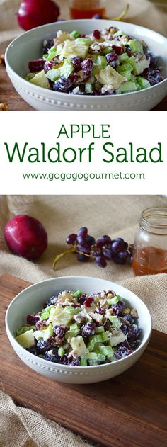 With crunchy walnuts, celery, grapes and apples and a sweet dressing, this salad redefines the word! | Go Go Go Goumret @gogogogourmet
