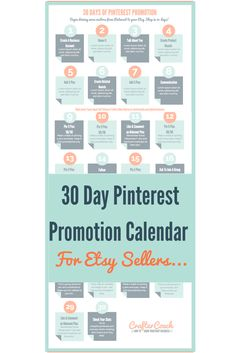 30 Day Pinterest Promotion Calendar Etsy Business, Business Help, Craft Business, Business Ideas, Online Business, Making Money On Etsy, Etsy Seo, Promo Gifts, Pinterest For Business