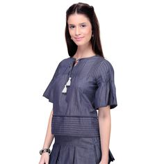 Navy Blue chambray Top in ₹1,390.00 at http://www.studiovteens.com/index.php/navy-blue-chambrey-top.html#.WC0mMtV97IU … #studiovteens #Fashionable #Fashion #glam #style #chic #outfit #girl #shopnow