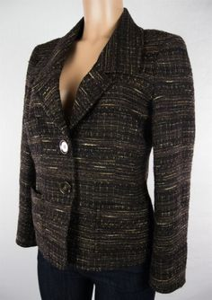 LAFAYETTE 148 Blazer Size 6 Brown Tweed Weave Wool Wear To Work Jacket #Lafayette148NewYork #Blazer