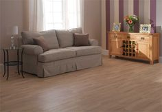 We love the muted colours of this living room design. Our Cutter Oak flooring looks amazing here! Oak Laminate Flooring, Sofa, Couch, Floor Design, Cool Rooms, Muted Colors, Home Decor Inspiration, Living Room Designs, New Homes