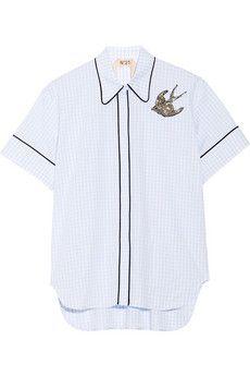 No. 21 Embellished cotton-poplin shirt | NET-A-PORTER