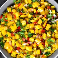 An easy recipe for Mango Salsa, a light, refreshing and colorful dip. Enjoy this vegan and gluten-free relish as a dip or as a condiment with your favorite protein. Mango Recipes Video, Mango Salsa Recipes, Raw Food Recipes, Veggie Recipes, Salad Recipes, Cooking Recipes, Healthy Recipes, Recipes With Mango, Vegetarian