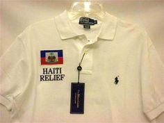 Men's M White POLO RALPH LAUREN Custom Fit Polo Shirt United Way Haiti Relief NWT