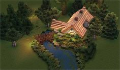 The Minecraft Stream Cottage Project was contributed by halfdemonanbu. Casa Medieval Minecraft, Art Minecraft, Minecraft Garden, Minecraft House Plans, Minecraft Structures, Minecraft Mansion, Cute Minecraft Houses, Amazing Minecraft, Minecraft Tutorial