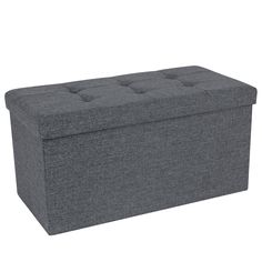 SONGMICS Sitzhocker Sitzbank 80 L faltbar Sitztruhe belastbar bis 300 kg 76 x 38 x 38 cm Dunkelgrau