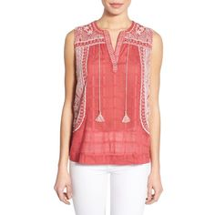 Lucky Brand Embroidered Sleeveless Cotton Blouse ($90) ❤ liked on Polyvore featuring tops, blouses, red multi, lucky brand tops, embroidered top, red blouse, red top and sleeveless tie blouse