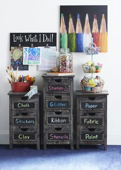 The Whitman Storage Collection features blackboard panels and a rustic feel! This artsy decor is perfect for kids' rooms, playrooms or your craft room. Keep yourself organized with chests, console tables and more! #artsandcraftsforchildren,