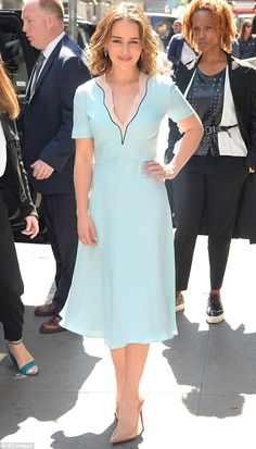 Emilia Clarke arrives to Good Morning America in gorgeous blue dress | Daily Mail Online