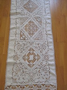 French natural linen curtain with cutwork, lace, and fringing
