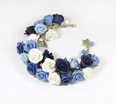 Blue rose cha cha charm Bracelet Polymer clay by PommeDeNeige