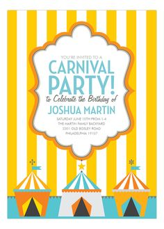 Doc Milo Yellow Carnival Stripes Invitation : #Kids #Birthday Invitations