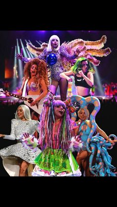 Gaga's wigs, including an Octopus