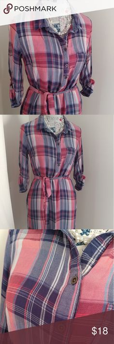 Plaid shirt dress Belted red, white & blue plaid shirt dress. Perfect for every season, lightweight and soft. Buttons on top portion only.  3/4 sleeves with roll tab.  Wear with leggings or summer flip flops!  Measurements coming soon. Faded Glory Dresses