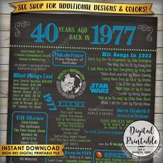 40th Birthday 1977 Printable Chalkboard Style Poster -- A fun birthday poster filled with facts, events, and tidbits from AUSTRALIA in 1977. Makes an excellent gift or party decoration! *** DIGITAL PRINTABLE FILE ONLY! No physical prints will be sent *** • INSTANT DOWNLOAD! Simply order, download, print and enjoy! The print comes as seen in the previews – no changes can be made to Instant Download digital files. • A1 size digital printable file • Includes both a JPG and PDF version of the…