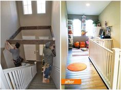 Turn wasted space above stairs into a playroom!!