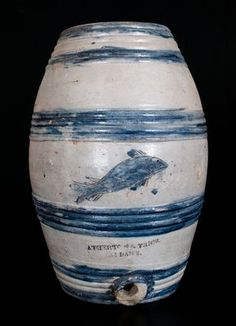 Stoneware Jar with Incised Floral Decoration attrib. Albany, NY, circa 1815 -- Lot 28 -- November 2013 Stoneware Auction -- Crocker Farm, Inc. Stoneware Crocks, Antique Stoneware, Glazes For Pottery, Glazed Pottery, Antique Crocks, Troy, Auction, Jars, Antiques