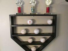 baseball shelf hanging shelf baseball display by BarleyMoonSalvage Baseball Shelf, Baseball Display, Baseball Crafts, Baseball Mom, Baseball Records, Baseball Players, Baseball Signs, Boy Room, Kids Room
