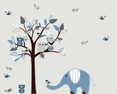 Boys Nursery Tree Row my Boat Decal Vinyl Wall Stickers Tree Owls Decal. $115.99, via Etsy.
