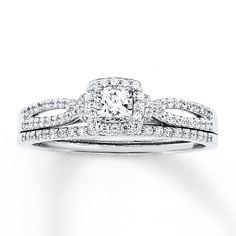 Diamond Bridal Set 1/2 ct tw Princess-cut 14K White Gold :) this is the ring I love!!!!!!! -Kayla