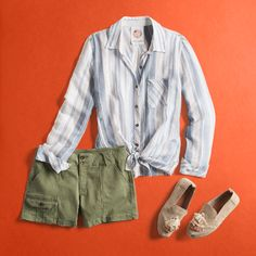 Completely LOVE the shirt.another great outfit. Shorts are so cut. (If you hadn't noticed, we're *extra* excited today because we've got tons of outfit inspiration to share with you). Cute Outfits With Shorts, Summer Outfits, Casual Outfits, Summer Clothes, Fix Clothing, Stitch Fix Outfits, Stitch Fix Stylist, Spring Summer Fashion, What To Wear