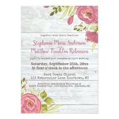 Watercolor Peony and Ranunculus and Grey Barn Wood Card - wedding invitations cards custom invitation card design marriage party
