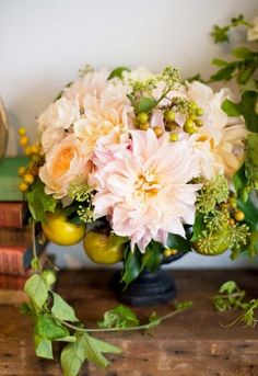 pink dahlia arrangement from Wedding Flower Inspiration: Dahlias