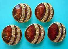 5 Modern Basse-Taille Chestnut Brown Enamel on Brass Buttons with Rhinestones