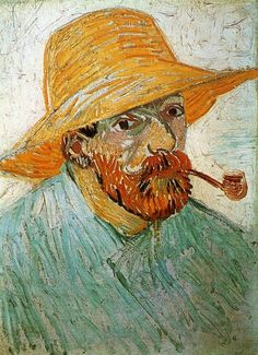 Vincent Van Gogh (1853-1890)  autoportrait pipe et chapeau