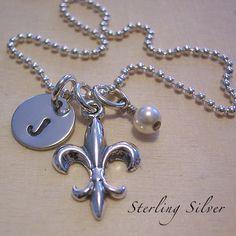 Fleur de Lis Necklace  Sterling Silver  by MadisonCraftStudio, $34.00
