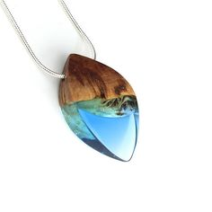 Resin Wood Jewelry Statement Necklace Resin Wood Necklace  Handmade jewelry by WoodAllGood #WoodAllGood