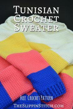 Tunisian Crochet Sweater - Free Pattern - the Slippin' Stitch #crochet #crocheting #freepattern #sweater