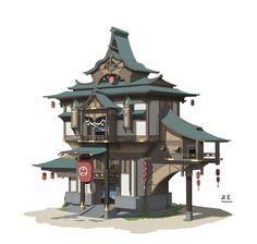 ArtStation - 池主屋, ZE 黄 Building Concept, Building Art, Building Design, Environment Concept Art, Environment Design, Asian Architecture, Architecture Design, Estilo Tudor, Chinese Buildings