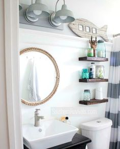 Small Nautical Bathroom Makeover with Tons of DIY Ideas