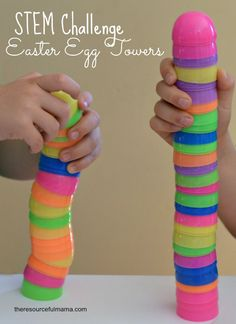 This Easter egg towers STEM challenge is a fun activity that uses plastic Easter eggs. It will get kids talking about what makes a strong and stable building. Plastic Easter Eggs, Easter Egg Crafts, Easter Activities, Steam Activities, Preschool Ideas, Kindergarten Crafts, Science Activities, Preschool Crafts, Classroom Activities